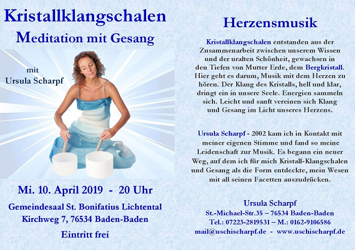 Kristallklangschalen - Meditationskonzert mit Gesang @ Gemeindesaal Sankt Bonifatius Lichtental | Sasbachwalden | Baden-Württemberg | Deutschland